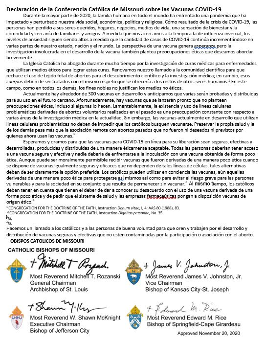 Statement Of The MOCC On COVID Vaccines SPANISH